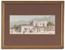 Artwork by Paterson Ewen, Southwestern Village, Made of watercolor on paper