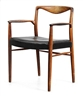 Kai Lyngfeldt-Larsen, Palisander chair with black leather upholstery