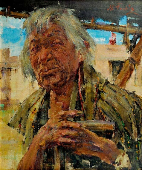 Fechin nicolai indian grandfather mutualart for Nicolai fechin paintings for sale