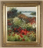 R. Evans, Meadow landscape with red flowers and a lake