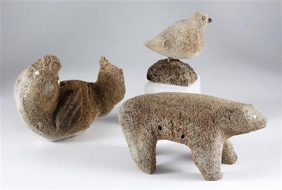 Carvings Inuit 3 Works Ptarmigan On A Rock A Seal A Polar Bear Circa 1990 Mutualart