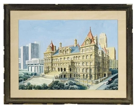 Artwork by Richard Haas, State Capital, Albany, Made of pencil, watercolor and gouache on paper