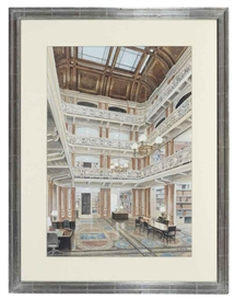 Artwork by Richard Haas, Old Executive Office Building, State Department Library, Washington D.C., Made of pencil, ink, watercolor and gouache on paper