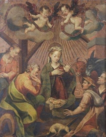 Artwork by Francisco Pacheco, The Nativity, Made of oil on leather, laid down on canvas