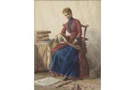 Artwork by Lawrence Earle, YOUNG WOMAN WITH LUTE, Made of Watercolor on paper