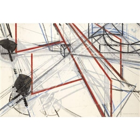 Artwork by Barry Le Va, Drawing Interruptions Blocked Structures #2, Made of Mixed media on paper