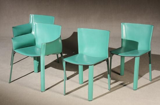 Giancarlo Vegni Set of Eight Fasem Green Leather – Green Leather Dining Chairs