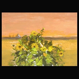 Artwork by Guy MacCoy, Sunflowers, Made of Oil on board