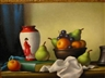 Christopher Cawthorn, 2 works: Still Life with Apples, Pears and Grapes