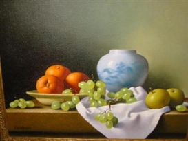 Artwork by Christopher Cawthorn, 2 works: Still Life with Fruit and Vessels, Made of oil on canvas