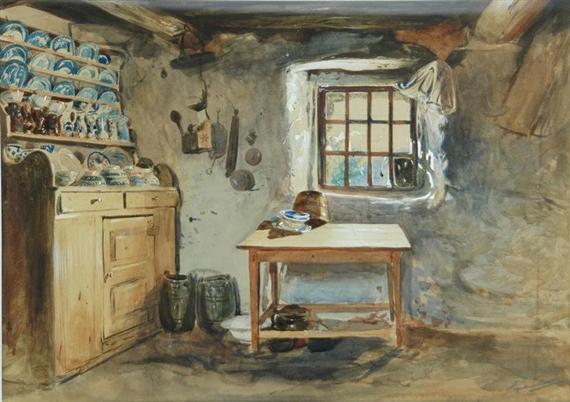 Haynes Williams John Interior Of Old Welsh Cottage Circa 1860 Mutualart