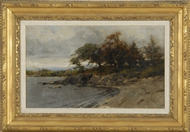 Lawrence Earle, Lakeshore landscape with rocks, trees, and distant hills