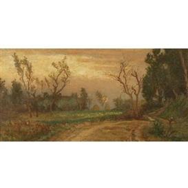 Artwork by Elihu Vedder, Near Villa Ansidei Perugia, Sunset, Made of Oil on unstretched canvas