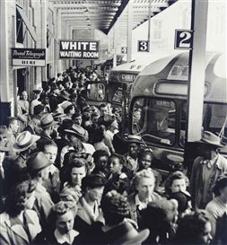 Artwork by Esther Bubley, Greyhound Bus Terminal, Memphis, Tennessee, Made of Gelatin silver print