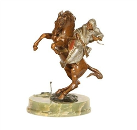 Artwork by Bruno Zach, The horseman surprised by a snake, Made of bronze with cold paint on an onyx base