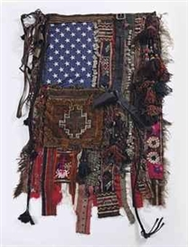 Artwork by Sara Rahbar, Flag #15, Made of textile, leather belt, carpet, tassels, coins and metal stars