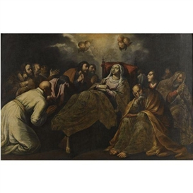 Artwork by Francisco Pacheco, The death of the virgin, Made of oil on canvas