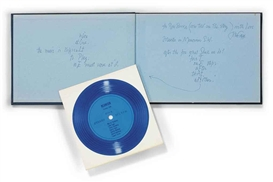 Artwork by John Cage, Reunion: Marcel Duchamp and John Cage by Shigeko Kubota, Made of book, blue flexi disk in slip case