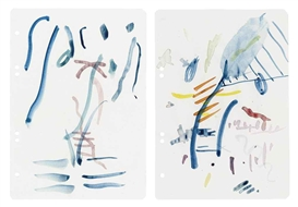 Artwork by Michael Krebber, 2 works:Untitled, Made of watercolour on paper
