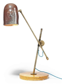 Artwork by Francis Upritchard, Helmut Lamp, Made of brass, iron and ceramic lamp on marble base