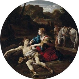 Artwork by Giovanni Lanfranco, Angelica Attending to Medoro, Made of oil on canvas