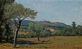 Artwork by Elihu Vedder, Near Perugia, Made of oil on paper on board