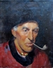 Ludwig Voss, Portrait of a man head and shoulders turned to the right smoking a pipe