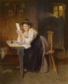 "Artwork by Adolf Eberle, ""The Successful Letter"", Made of oil on panel"