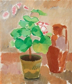Artwork by Karl Oscar Isakson, Still life with geranium and pitcher