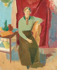 Artwork by Karl Oscar Isakson, Sitting woman in green blouse
