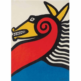 Artwork by Alexander Calder, Horse, Made of Color lithograph on Japon nacre