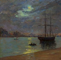 Artwork by Maxime Maufra, BRUME LE SOIR A NANTES, Made of Oil on canvas