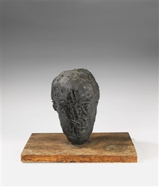Artwork by Michael Croissant, Kopf, Made of Bronze with black brown patina, mounted on wooden base