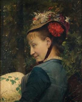 Portrait d'élégante au chapeau fleuri By Gustave Claude Etienne Courtois ,1879
