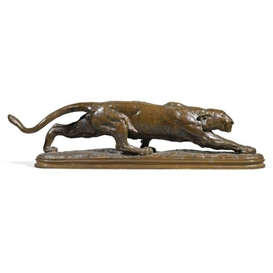 Artwork by Alexander Phimister Proctor, striding panther, Made of bronze, mid-brown patina