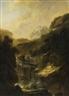 Johann Heinrich Wüest, Gemäldepaar: Ideale Gebirgslandschaften mit Wasserfall und Zeichnern