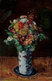Artwork by Anton Faistauer, Blumenstrauß in Walzenkrug auf Teller, Made of oil on panel