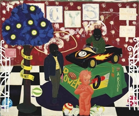 Artwork by Kerry James Marshall, The Lost Boys, Made of acrylic and paper collage on canvas mounted on canvas with metal grommets