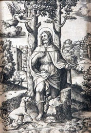 Artwork by Bernardo Daddi, Religious Figure with Dog, Made of black and white engraving