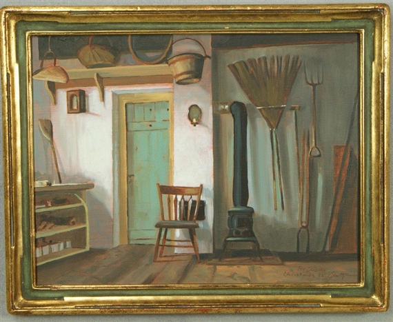 peter sculthorpe   potting shed interior oil on