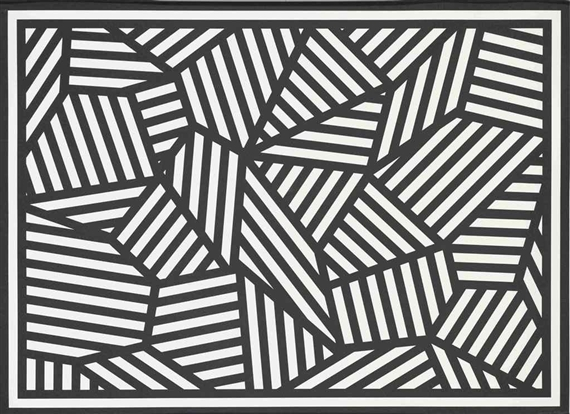 Artwork by sol lewitt shapes of black white stripes made of screenprint