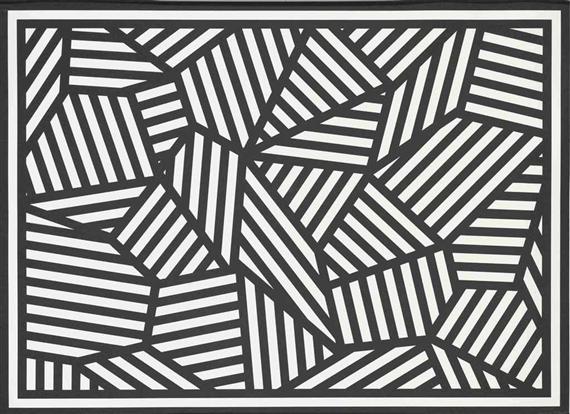 Artwork by sol lewitt shapes of black white stripes made of screenprint