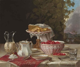 Artwork by John F. Francis, Strawberries and Cakes, Made of oil on canvas
