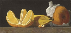 Artwork by John Frederick Peto, Still Life with Oranges and Banana, Made of oil on panel