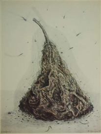 Artwork by Walter Schmögner, Pear-shaped body, around which insects, Made of Lithograph