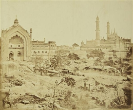 Artwork by Felice A. Beato, 2 works: The Rumi Gate and Emanbarra, Lucknow; Bailey Guard Gate from the Inside, Made of albumen prints