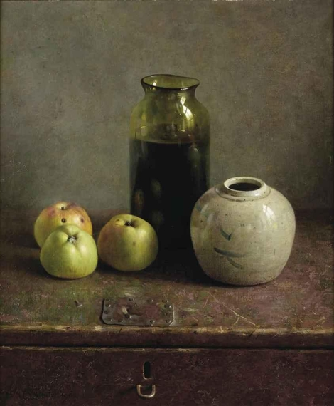 Helmantel Henk A Still Life With Apples And Vases 1982 Mutualart