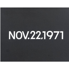Artwork by On Kawara, Nov. 22, 1971, Made of liquitex on canvas, newspaper clipping in handmade cardboard box