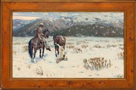 Artwork by Tim Solliday, Indian and Cowboy Tracking Horse Prints in Snow, Made of Oil on canvas
