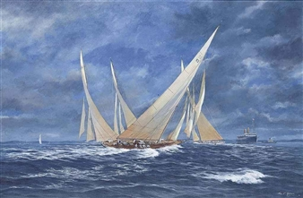 Astra, Velsheda and other J-Class yachts racing off the Isle of Wight By John J. Holmes